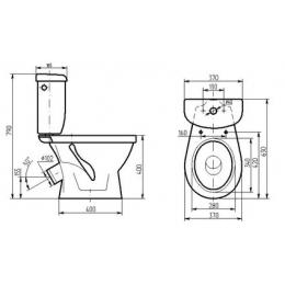 Унитаз-компакт ТОМЬ(воронкообразный) в комплекте с сиденьем и арматурой