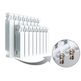 Биметаллический радиатор Rifar Monolit Ventil 350, 10 секций, с нижним левым подключением