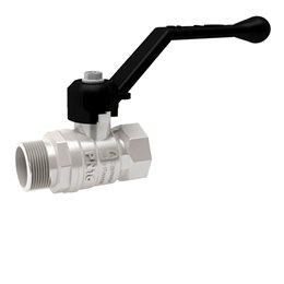 Кран шаровой латунный никелированный газ Pride Ду 15 Ру40 ВР/НР рычаг LD 47.15.В-Н.Р