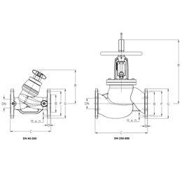 Клапан балансировочный ручной 3739В Ду40 чугун  Kvs26,15 PN16 FF с изм. ниппелями Cimberio