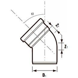 Отвод ПВХ с раструбом серый Дн 110х15гр Хемкор