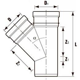 Тройник канализационный ПВХ с раструбом серый Дн 50х50х45гр Хемкор