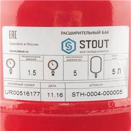 Расширительный бак на отопление 5 л. (цвет красный) Stout