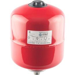 Расширительный бак на отопление 8 л. (цвет красный) Stout