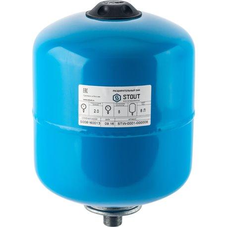 Расширительный бак, гидроаккумулятор 8 л. вертикальный (цвет синий) Stout