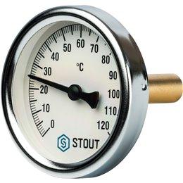 """Термометр биметаллический с погружной гильзой. Корпус Dn 63 мм, гильза 50 мм 1/2"""" Stout"""