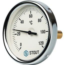 """Термометр биметаллический с погружной гильзой. Корпус Dn 80 мм, гильза 50 мм 1/2"""" Stout"""