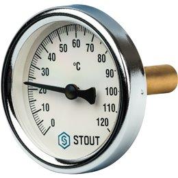 """Термометр биметаллический с погружной гильзой. Корпус Dn 63 мм, гильза 50 мм, резьба с самоуплотнением 1/2"""" Stout"""