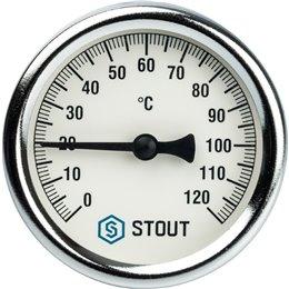 """Термометр биметаллический с погружной гильзой. Корпус Dn 63 мм, гильза 75 мм 1/2"""" Stout"""