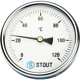 """Термометр биметаллический с погружной гильзой. Корпус Dn 100 мм, гильза 50 мм 1/2"""" Stout"""