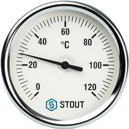 """Термометр биметаллический с погружной гильзой. Корпус Dn 80 мм, гильза 75 мм 1/2"""" Stout"""