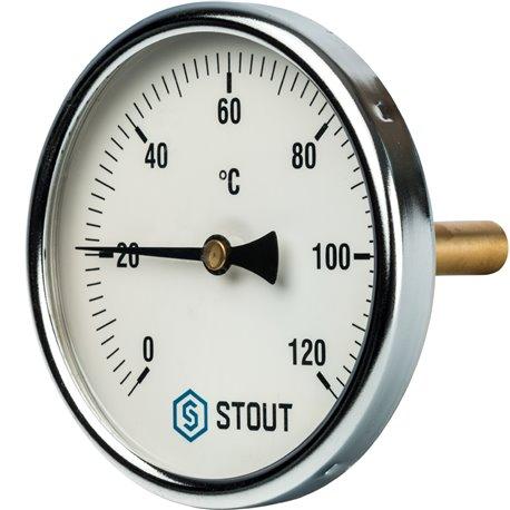 """Термометр биметаллический с погружной гильзой. Корпус Dn 100 мм, гильза 75 мм 1/2"""" Stout"""