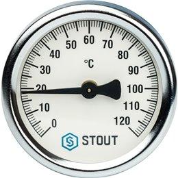 Термометр биметаллический накладной с пружиной. Корпус Dn 63 мм Stout
