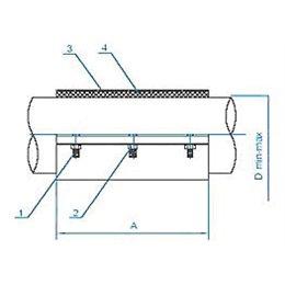 Хомут ремонтный двухсоставной из нержавеющей стали Ду50 (56-64) L250 мм