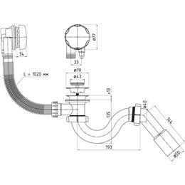 """Сифон для ванны полуавтомат трубный нерж/сетка 1 1/2""""х40 с трубой 40-50 EM313 АНИ Пласт"""