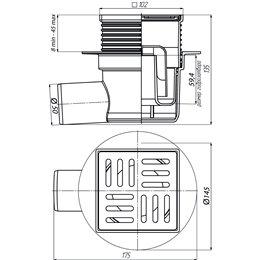 Трап регулируемый горизонтальный Дн 50 реш пласт 100х100мм TA5604 АНИ Пласт