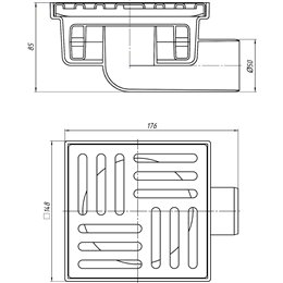 Трап нерегулируемый горизонтальный Дн 50 реш нерж сталь 150х150мм сухой затвор TQ5112 АНИ Пласт