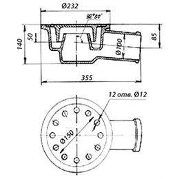 Трап чугунный с горизонтальным выпуском Ду 100 ГОСТ 1811-97