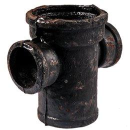 Крестовина чугунная канализационная Ду 100х100х100х90гр б/н 1-плоскостная ГОСТ 6942-98 прямая Кронтиф