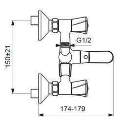 Смеситель для ванны с душем серия LIFE двуручный Vidima BA363AA
