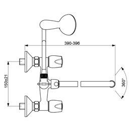 Смеситель для ванны с душем серия ISKAR двуручный Vidima BA167AA