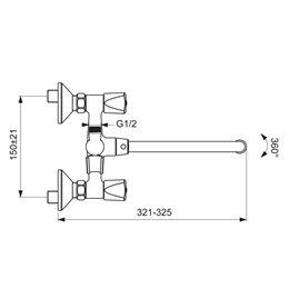 Смеситель для ванны с душем серия PRACTIC двуручный Vidima BA342AA