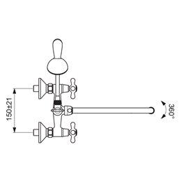 Смеситель для ванны с душем серия RETRO двуручный Vidima BA348AA