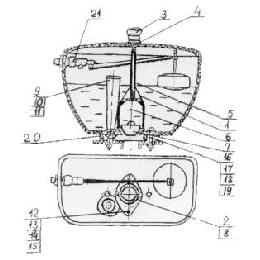Запорная арматура к смывному бачку с верхним спуском АБ-118